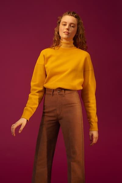 Christophe Lemaire x Uniqlo U Fall/Winter 2018 Collection Crewneck Long Sleeve Sweatshirt Yellow High Rise Wide Jeans Khaki
