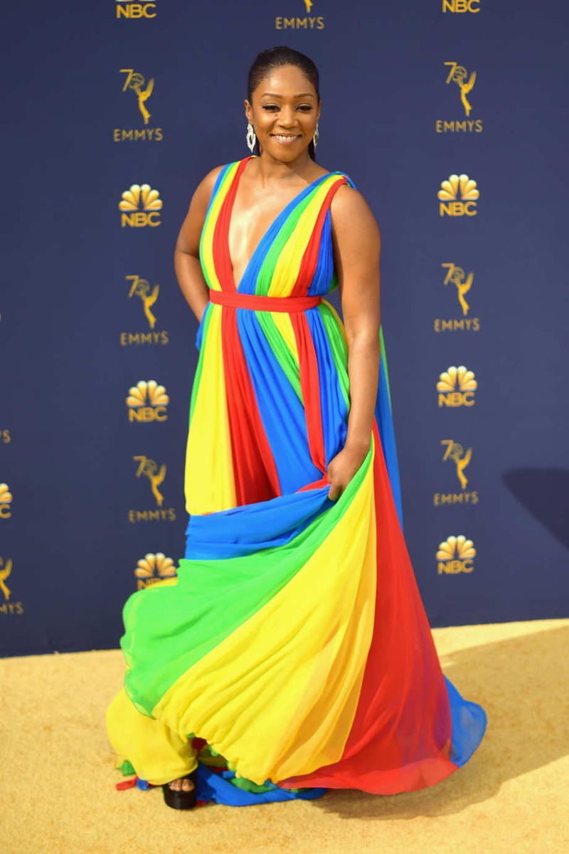 Tiffany Haddish Emmys Emmy Awards 2018 Red Carpet Rainbow Dress