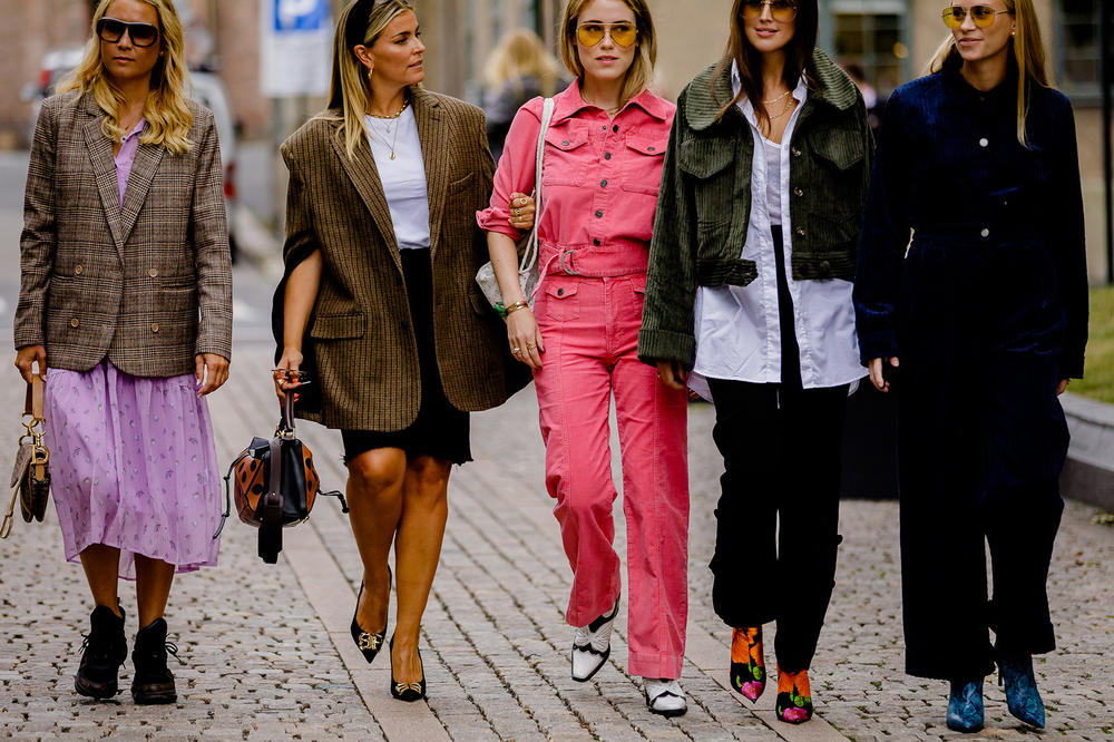 Oslo Fashion Week Street Style Trend Neon Pink Denim Suit Blazers Boots