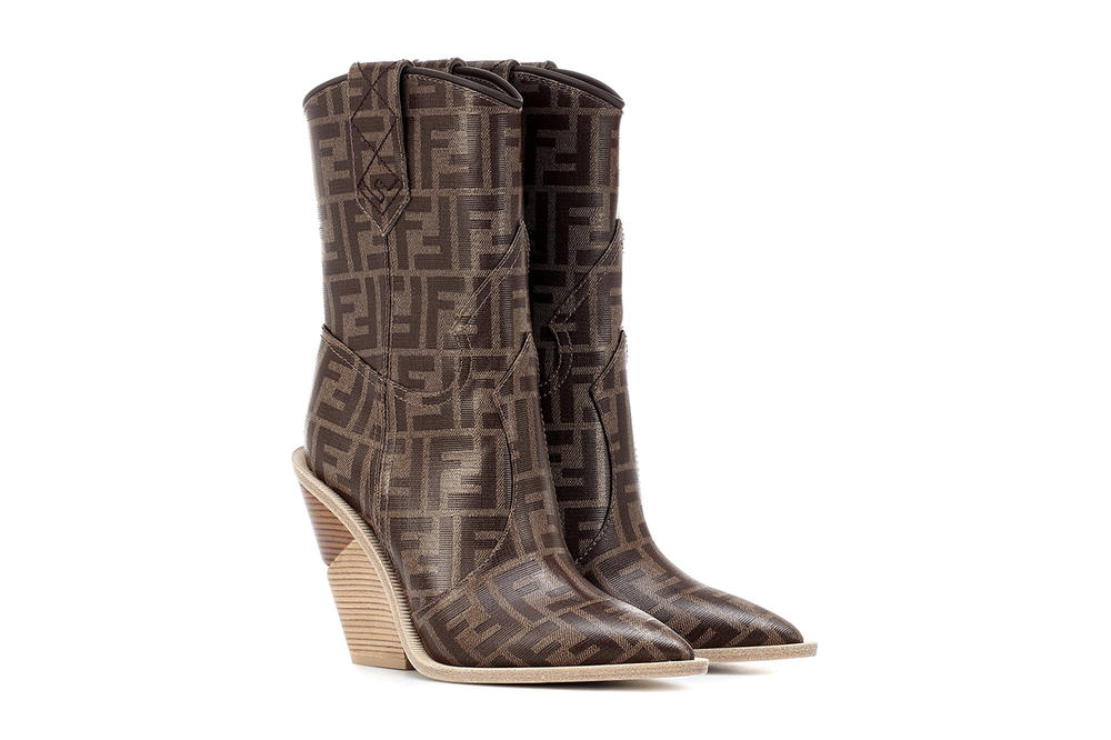 Fendi FF Logo Printed Cowboy Boots Brown
