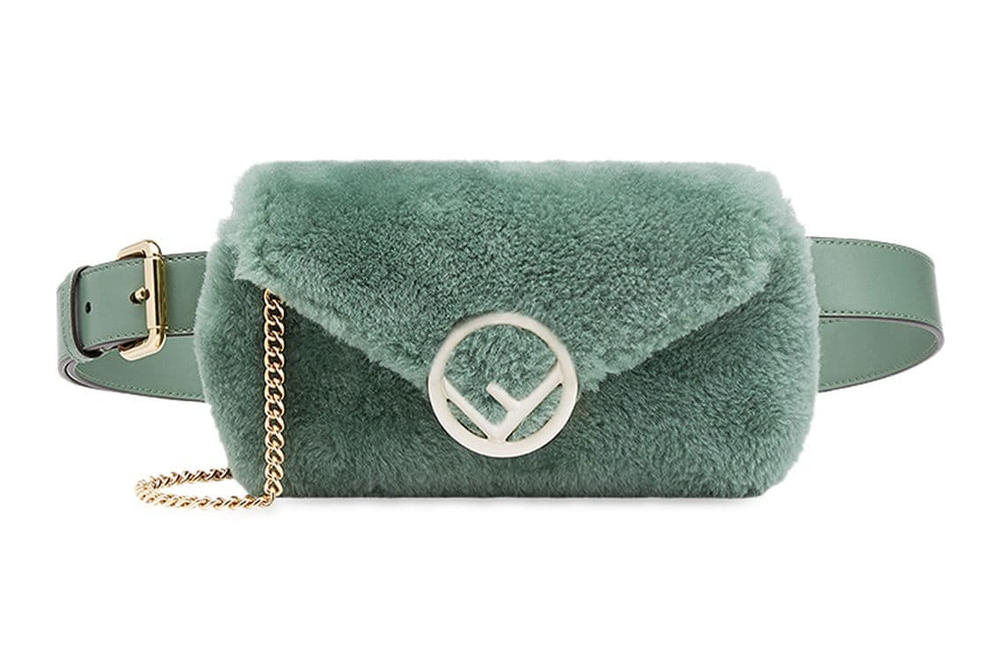 Fendi Pastel Mint Green Sheepskin Belt Bag