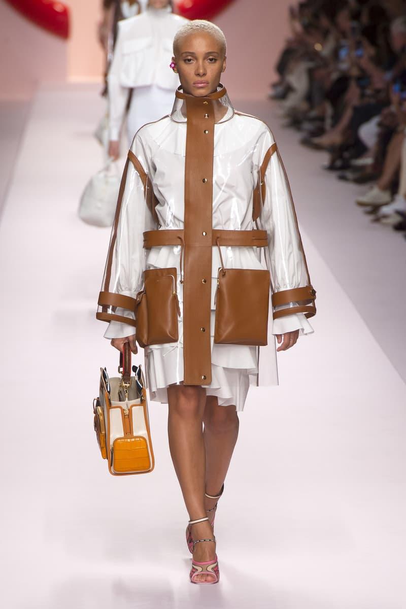 Fendi Karl Lagerfeld Spring Summer 2019 Milan Fashion Week Show Collection Adwoa Aboah Jacket White Brown