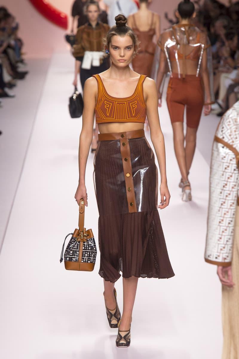 Fendi Karl Lagerfeld Spring Summer 2019 Milan Fashion Week Show Collection Crop Top Orange Skirt Brown