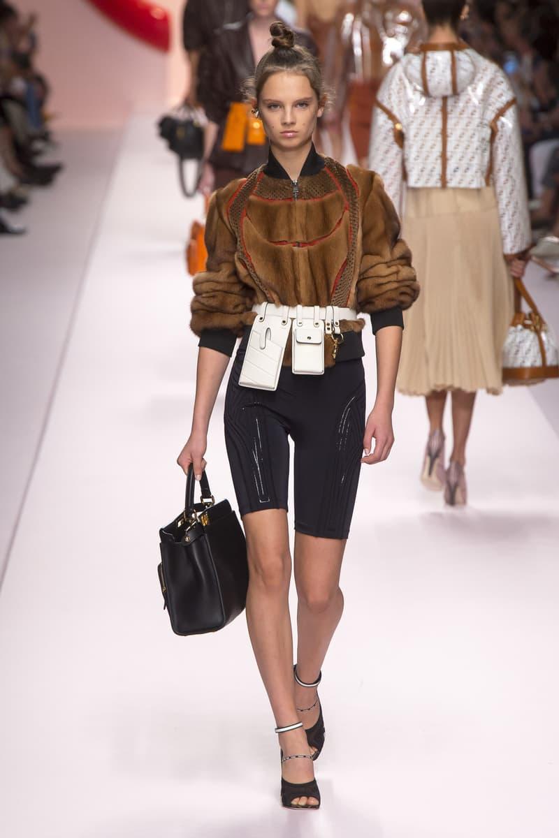 Fendi Karl Lagerfeld Spring Summer 2019 Milan Fashion Week Show Collection Jacket Brown Biker Shorts Black