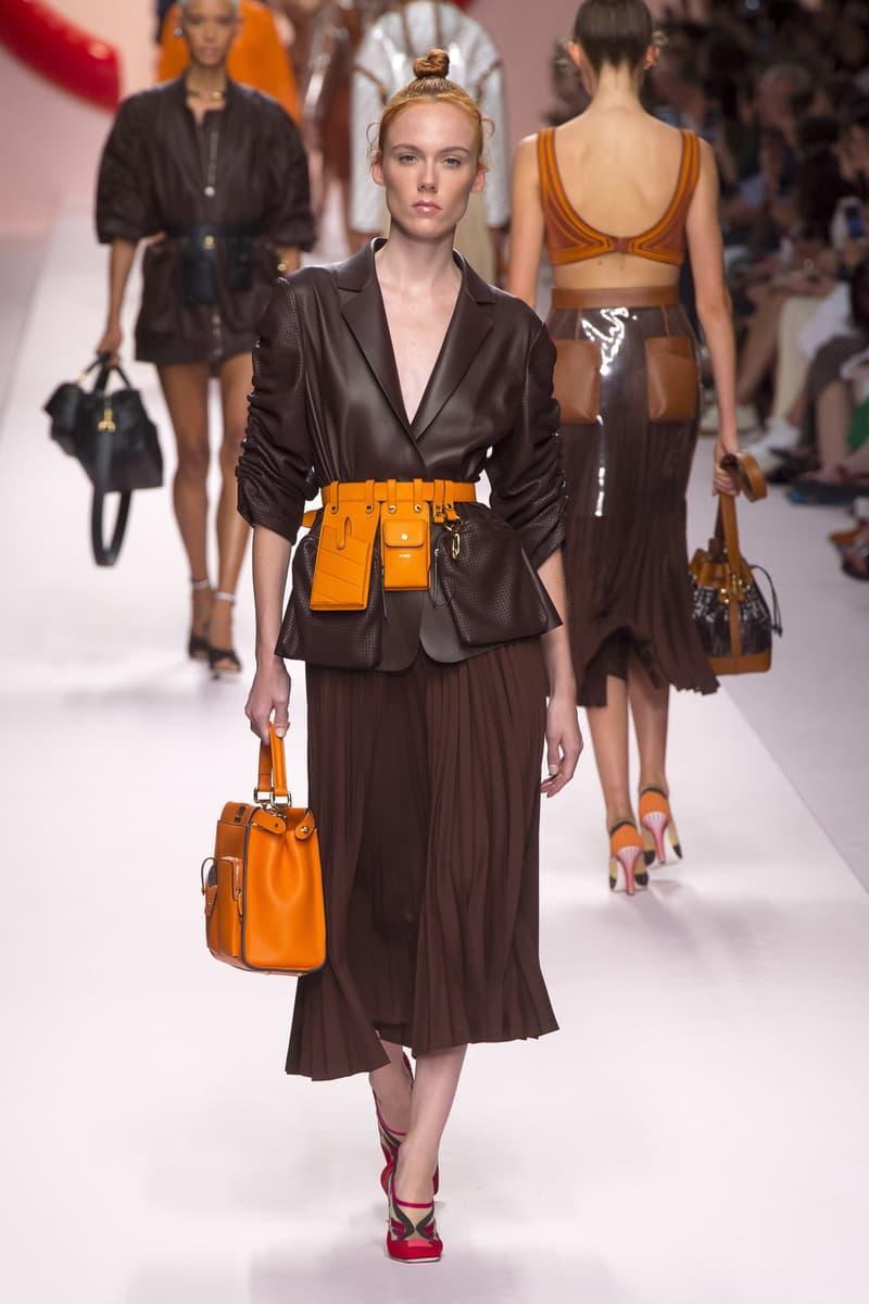 Fendi Karl Lagerfeld Spring Summer 2019 Milan Fashion Week Show Collection Blazer Skirt Brown Belt Bag Orange
