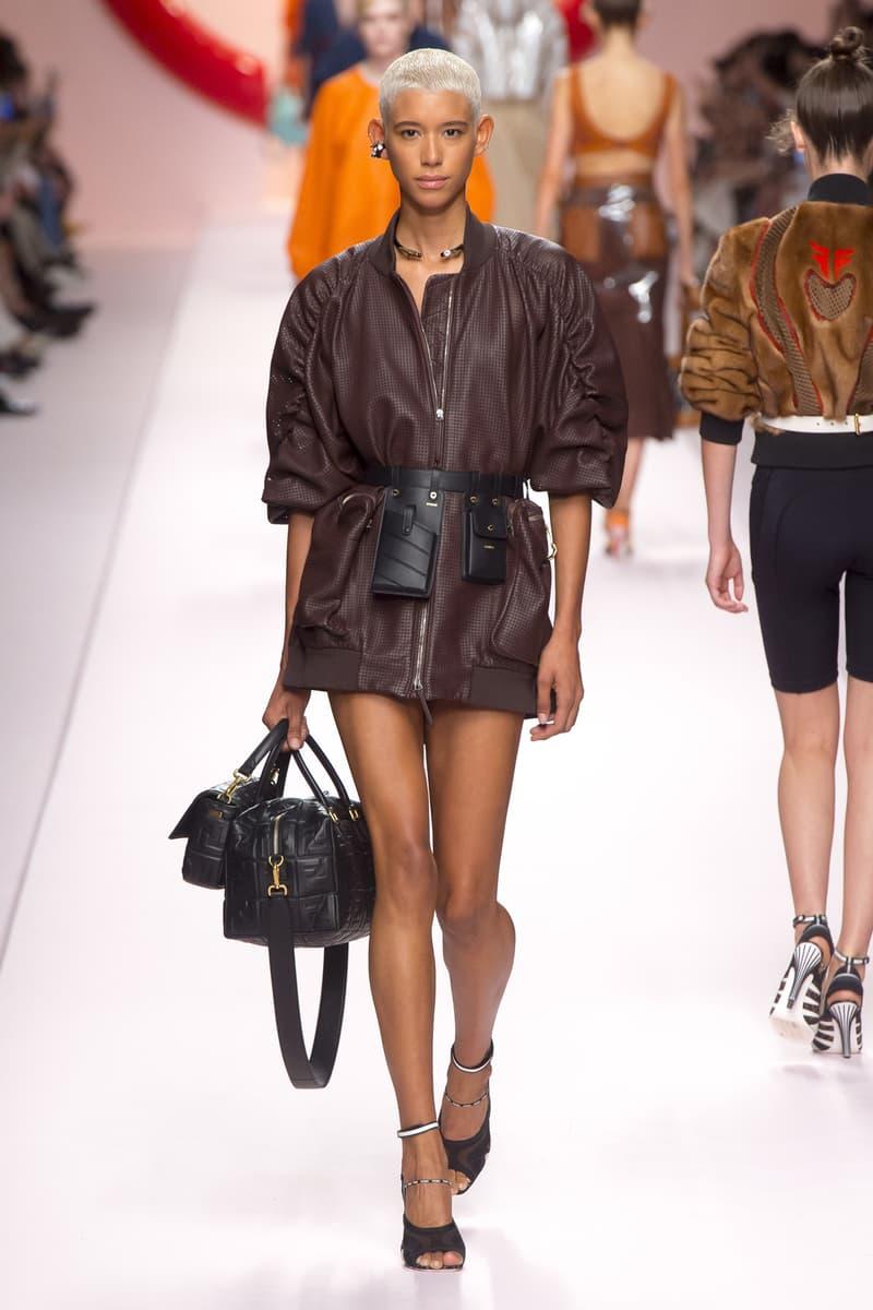 Fendi Karl Lagerfeld Spring Summer 2019 Milan Fashion Week Show Collection Coat Brown Belt Bag Black