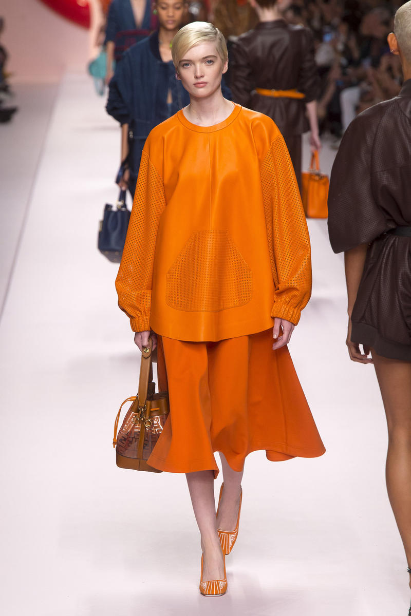 Fendi Karl Lagerfeld Spring Summer 2019 Milan Fashion Week Show Collection Top Skirt Orange