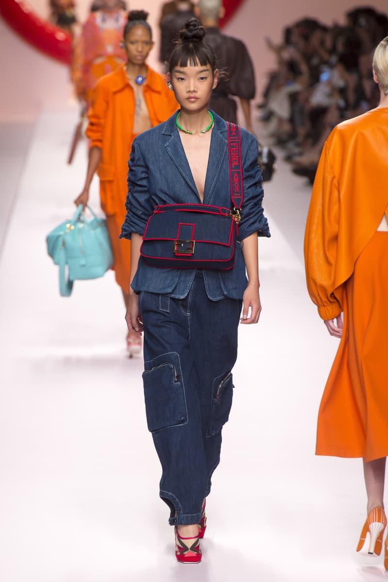 Fendi Karl Lagerfeld Spring Summer 2019 Milan Fashion Week Show Collection Denim Jacket Pants Handbag Red Blue