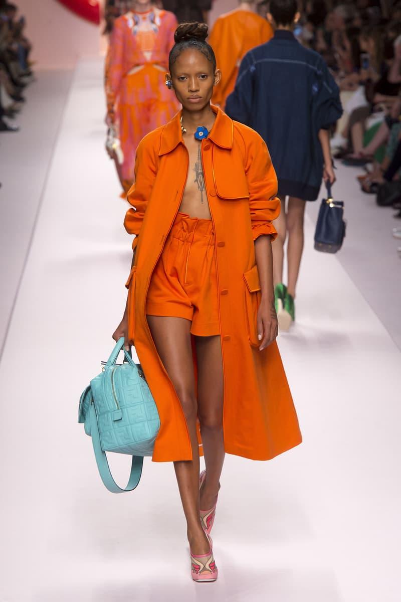 Fendi Karl Lagerfeld Spring Summer 2019 Milan Fashion Week Show Collection Jacket Shorts Orange Handbag Blue