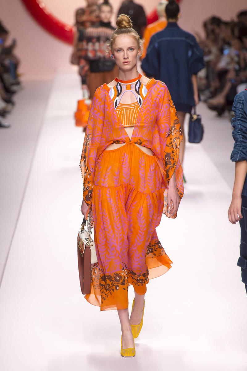 Fendi Karl Lagerfeld Spring Summer 2019 Milan Fashion Week Show Collection Dress Orange Pink