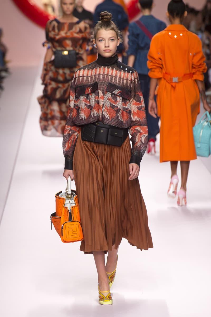 Fendi Karl Lagerfeld Spring Summer 2019 Milan Fashion Week Show Collection top Black Orange Skirt Brown