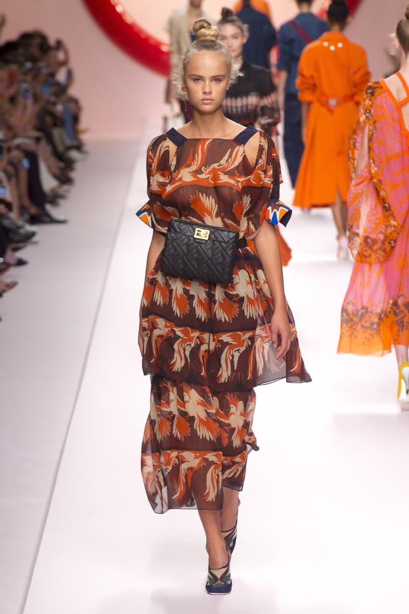 Fendi Karl Lagerfeld Spring Summer 2019 Milan Fashion Week Show Collection Top Skirt Orange Brown Belt Bag Black