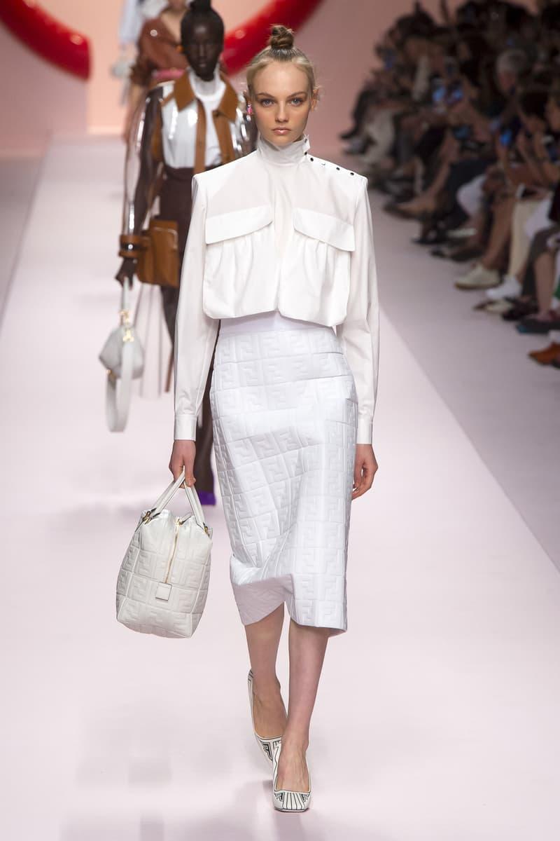 Fendi Karl Lagerfeld Spring Summer 2019 Milan Fashion Week Show Collection Jacket Skirt Handbag White
