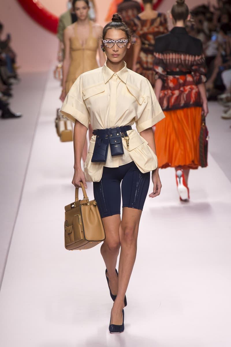 Fendi Karl Lagerfeld Spring Summer 2019 Milan Fashion Week Show Collection Bella Hadid Top Cream Biker Shorts Belt Bag Blue Handbag Khaki