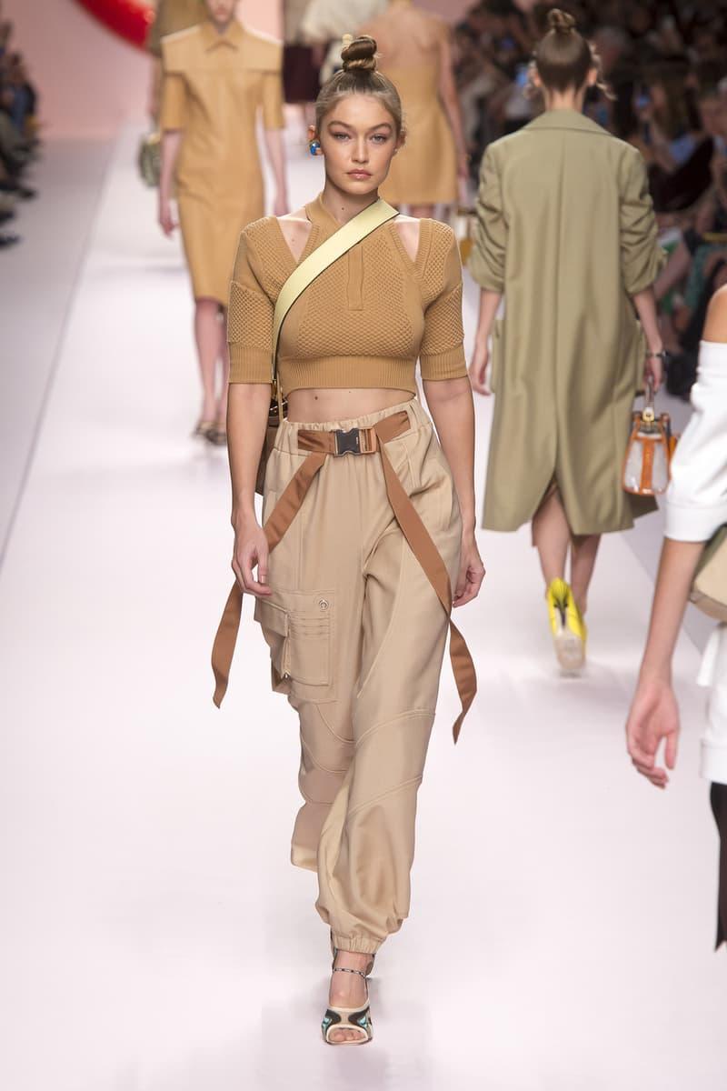 Fendi Karl Lagerfeld Spring Summer 2019 Milan Fashion Week Show Collection Gigi Hadid Crop Top Tan Pants Khaki