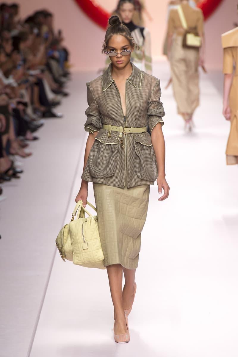 Fendi Karl Lagerfeld Spring Summer 2019 Milan Fashion Week Show Collection Jacket Tan Skirt Khaki Handbag Cream
