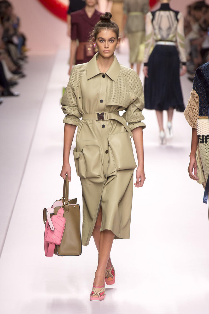 Fendi Karl Lagerfeld Spring Summer 2019 Milan Fashion Week Show Collection Jacket Skirt Khaki