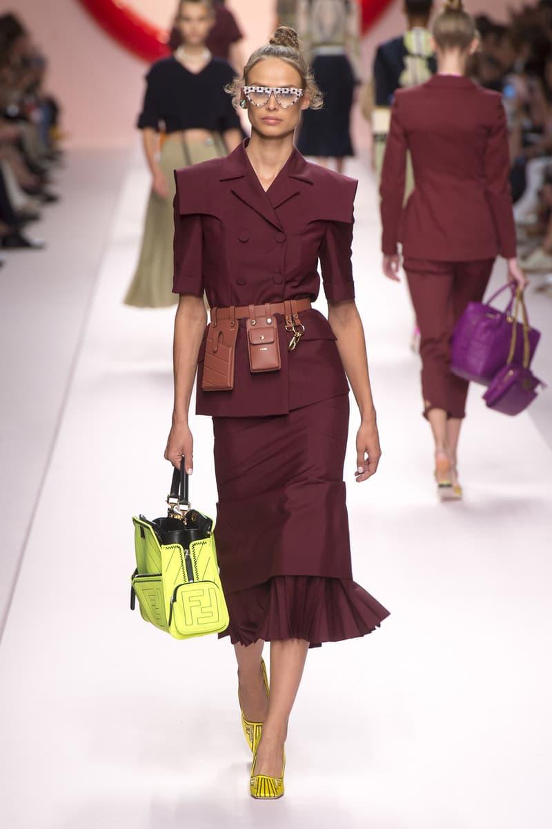 Fendi Karl Lagerfeld Spring Summer 2019 Milan Fashion Week Show Collection Jacket Skirt Maroon Belt Bag Brown