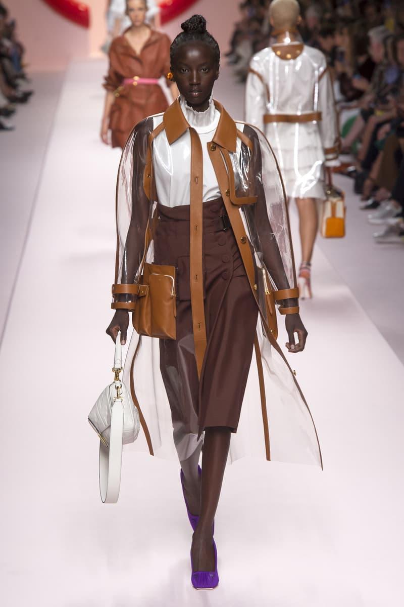 Fendi Karl Lagerfeld Spring Summer 2019 Milan Fashion Week Show Collection Jacket Skirt Brown