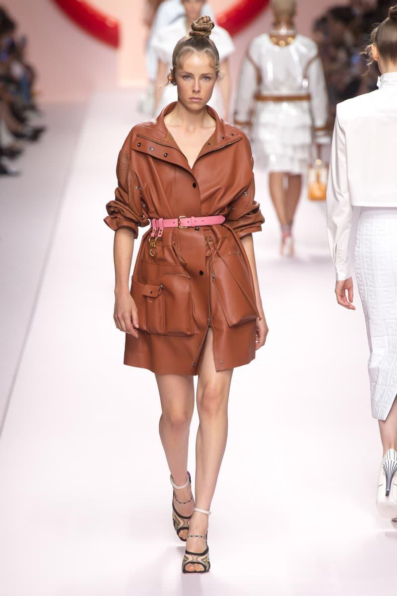 Fendi Karl Lagerfeld Spring Summer 2019 Milan Fashion Week Show Collection Jacket Shorts Brown Belt Pink