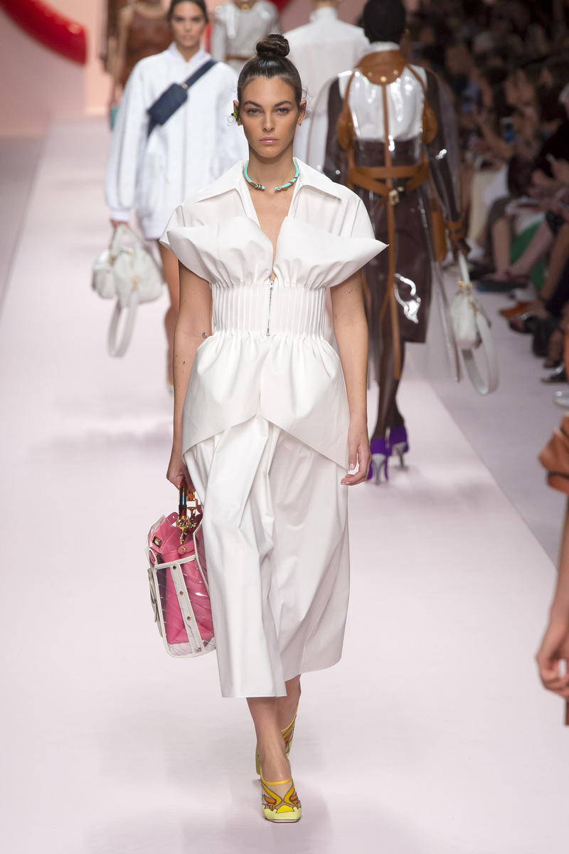 Fendi Karl Lagerfeld Spring Summer 2019 Milan Fashion Week Show Collection Top Skirt White