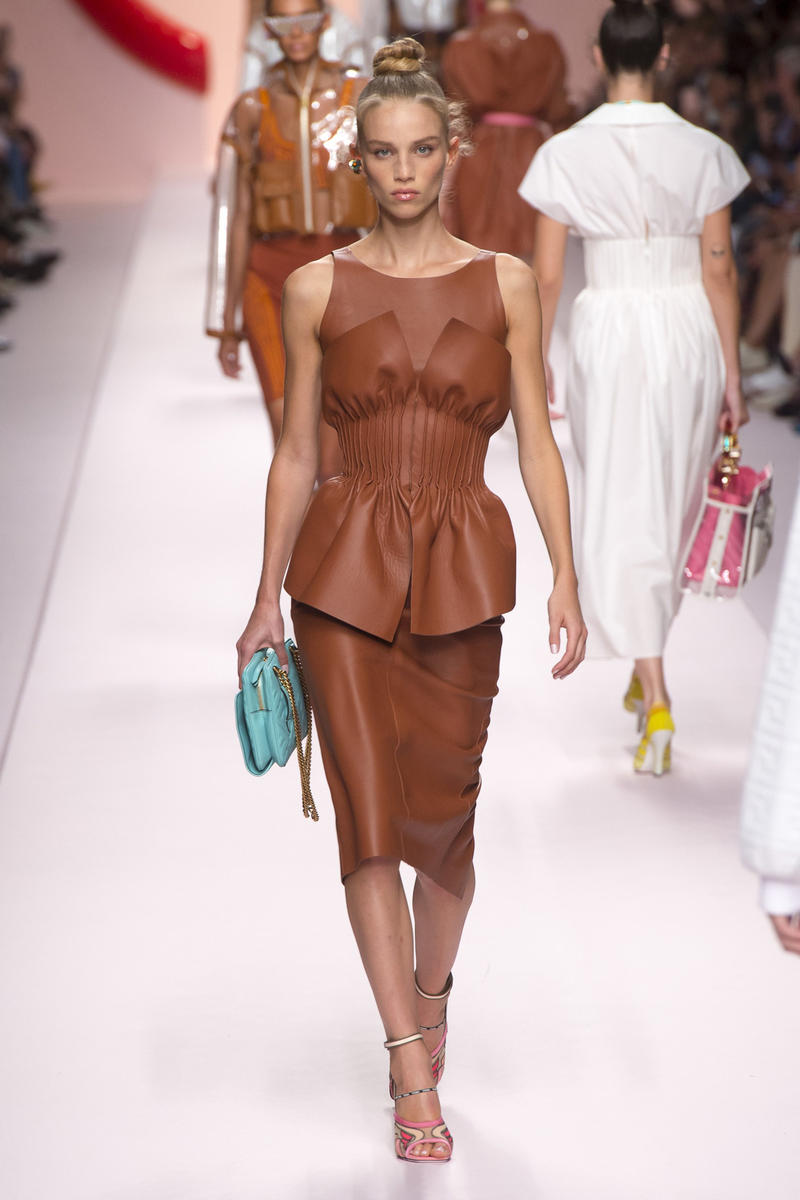 Fendi Karl Lagerfeld Spring Summer 2019 Milan Fashion Week Show Collection Top Skirt Brown