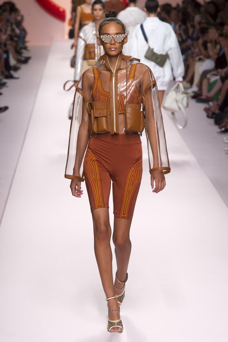 Fendi Karl Lagerfeld Spring Summer 2019 Milan Fashion Week Show Collection Binx Walton Jacket Clear Biker Shorts Orange