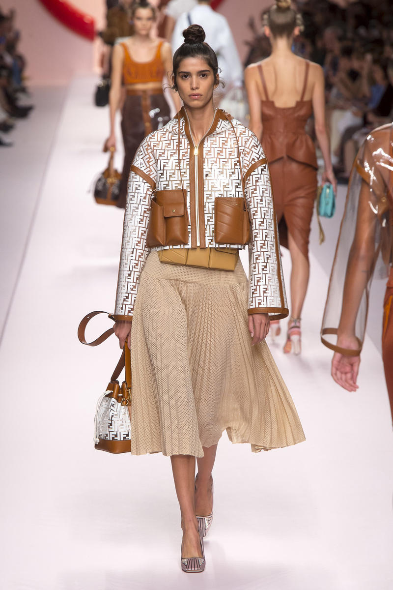 Fendi Karl Lagerfeld Spring Summer 2019 Milan Fashion Week Show Collection Jacket White Skirt Khaki