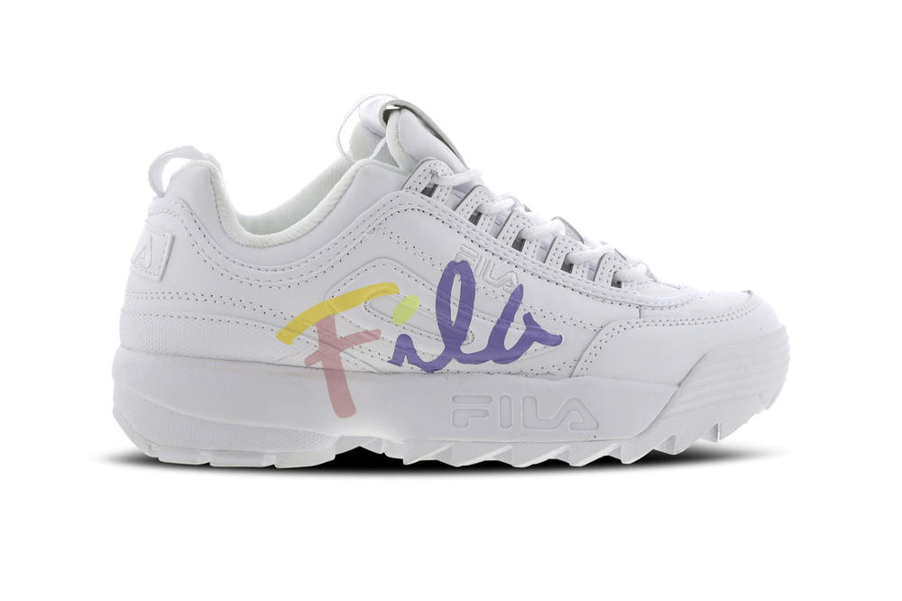 FILA Disruptor 2 Script White Pastel Logo Women s Sneakers 35746ef0e