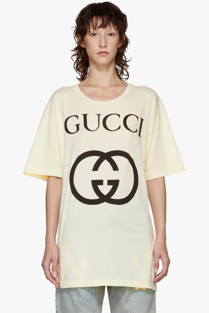 Gucci GG White Logo T-Shirt Print Fashion Alessandro Michele