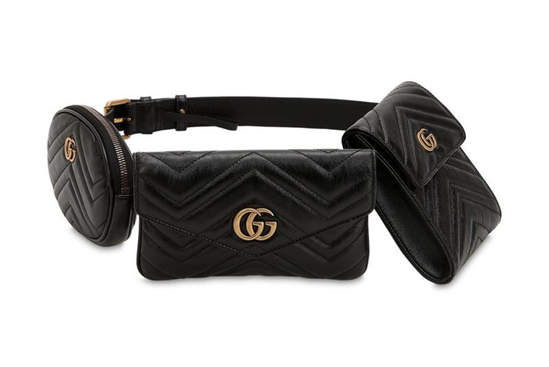 e8d9e3fd575ad1 Gucci GG Marmont Black Leather Belt Bag Pack Rectangle Square Oval
