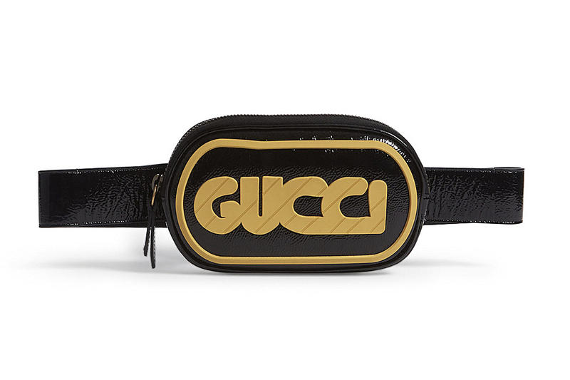 Gucci Retro GUCCY Yellow logo Patent Black Leather Belt Bag