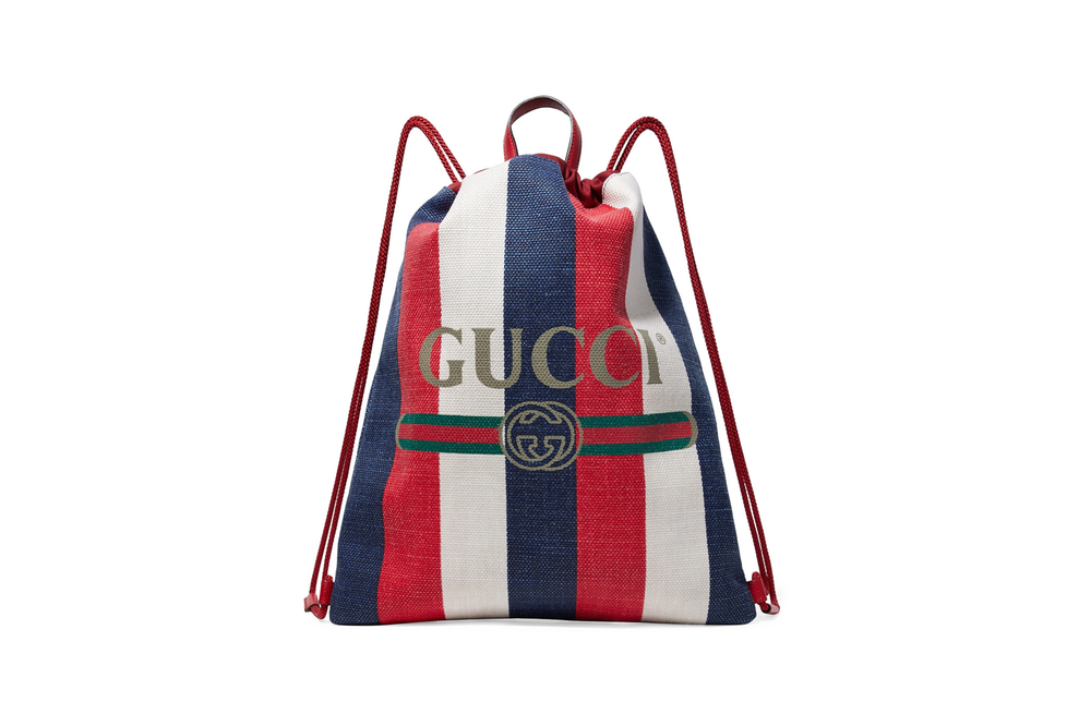 Gucci Leather Canvas Drawstring Backpack Red Blue White