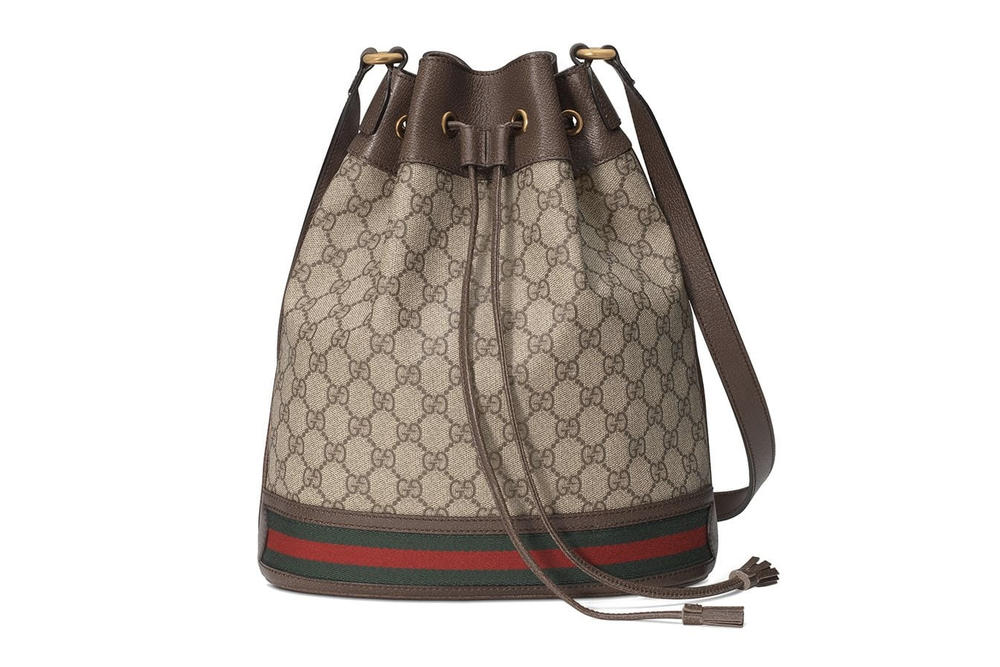 Gucci GG Supreme Ophelia Monogram Bucket Bag Brown Canvas Leather