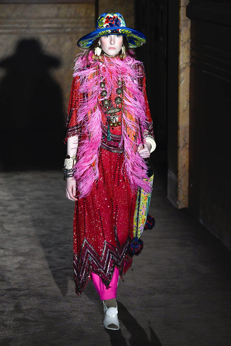 Gucci Alessandro Michelle Spring Summer 2019 Paris Fashion Week Show Collection Dress Red Pink Hat Blue