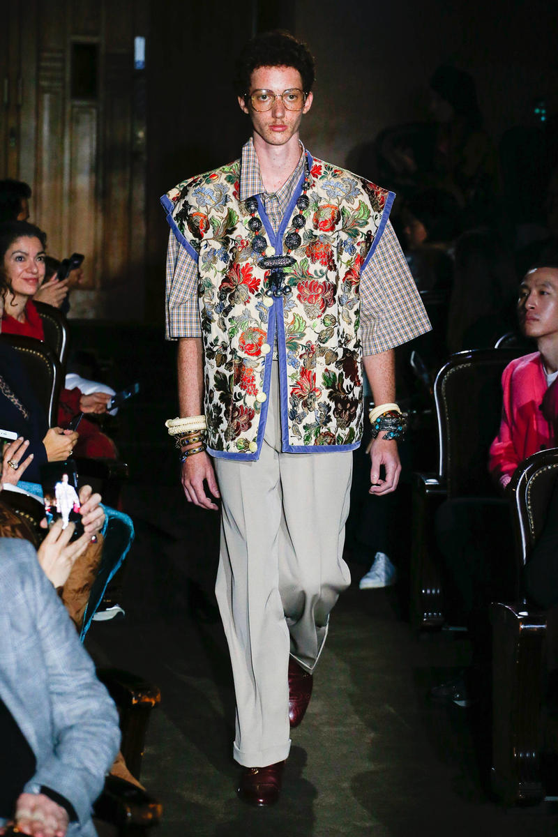 Gucci Alessandro Michelle Spring Summer 2019 Paris Fashion Week Show Collection Top Brown Pants Tan