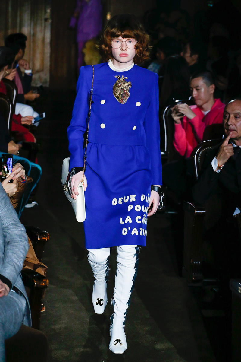 Gucci Alessandro Michelle Spring Summer 2019 Paris Fashion Week Show Collection Plaid Blazer Blazer Skirt Blue Tights Shoes White