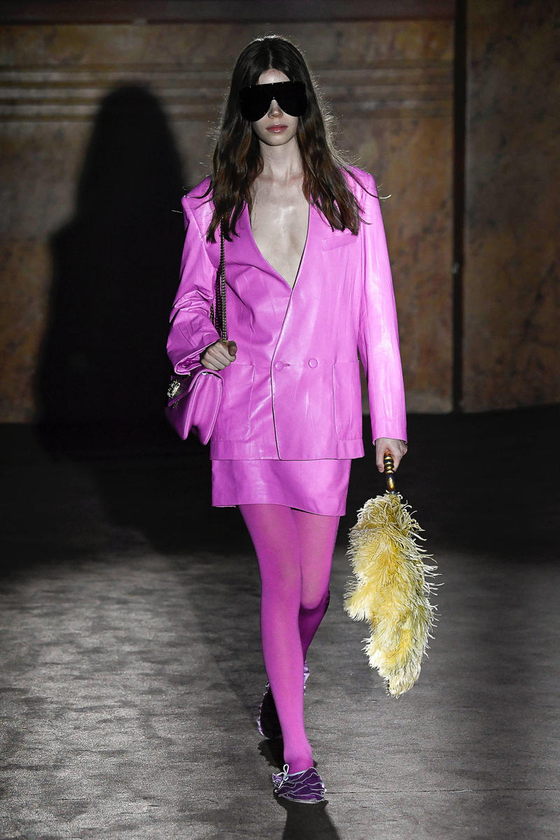 Gucci Alessandro Michelle Spring Summer 2019 Paris Fashion Week Show Collection Blazer Skirt Tights Pink