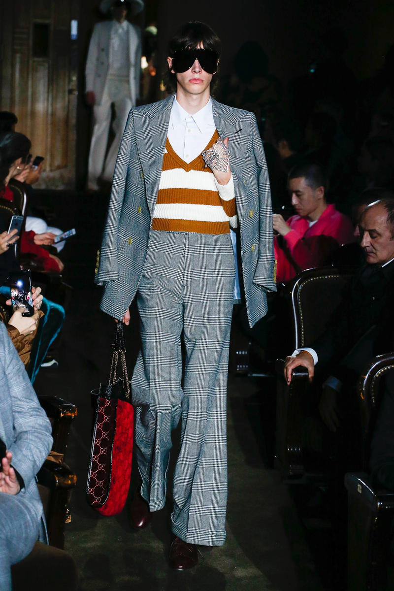 Gucci Alessandro Michelle Spring Summer 2019 Paris Fashion Week Show Collection Blazer Pants Grey Top Maroon Cream