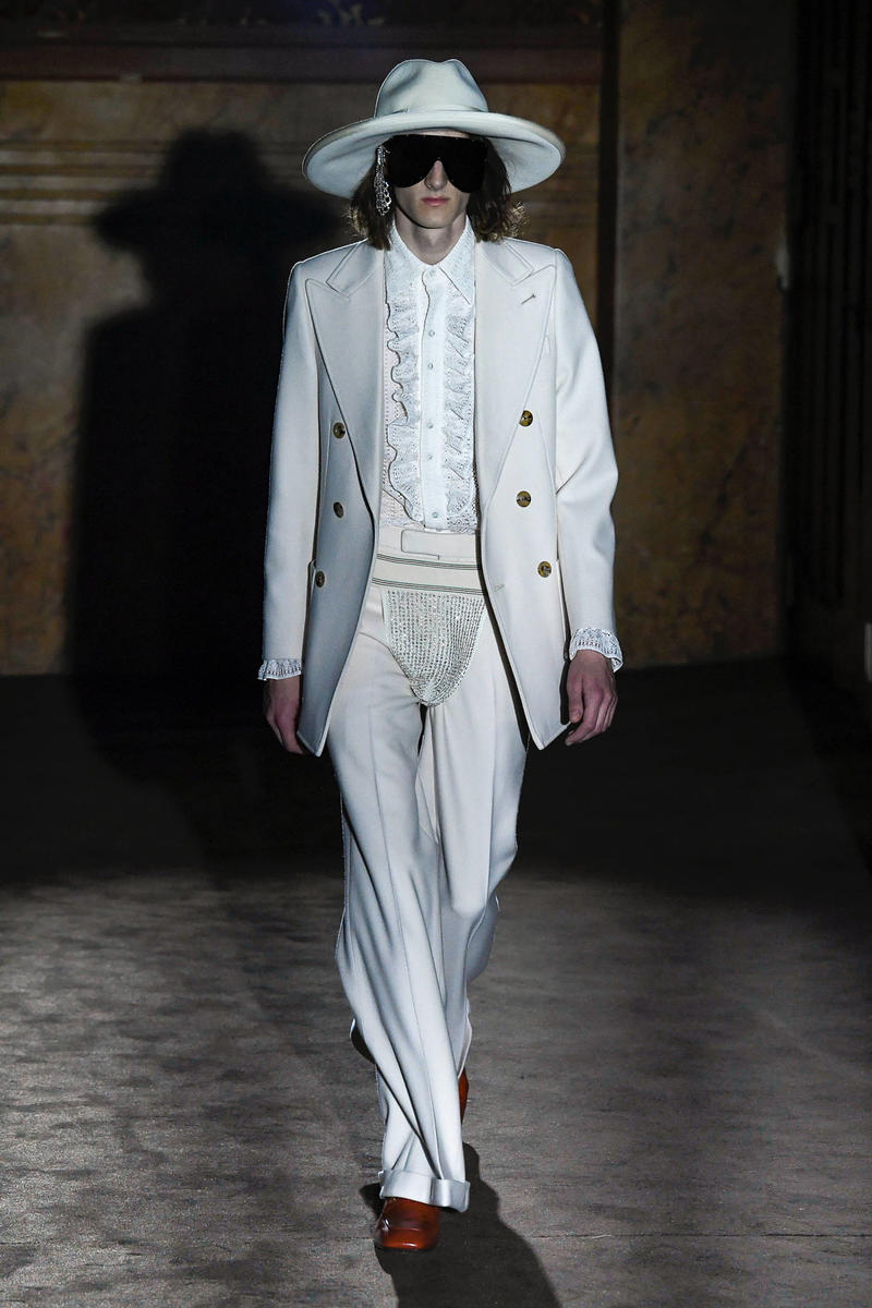 Gucci Alessandro Michelle Spring Summer 2019 Paris Fashion Week Show Collection Blazer Pants Cream Hat White
