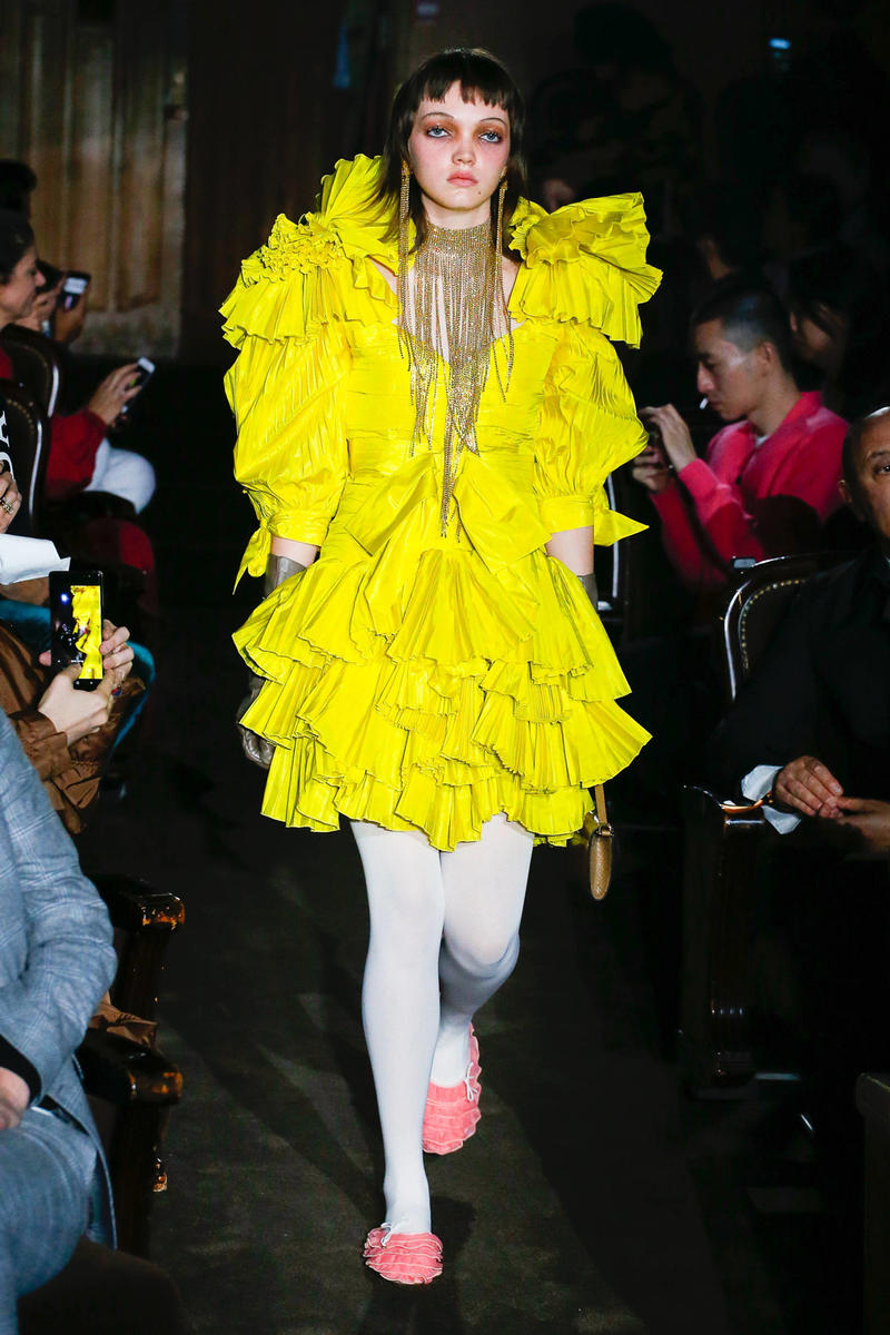 Gucci Alessandro Michelle Spring Summer 2019 Paris Fashion Week Show Collection Dress Yellow Tights White