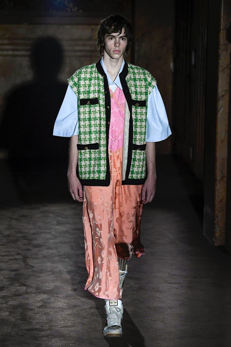 Gucci Alessandro Michelle Spring Summer 2019 Paris Fashion Week Show Collection Dress Pink Vest Green Black