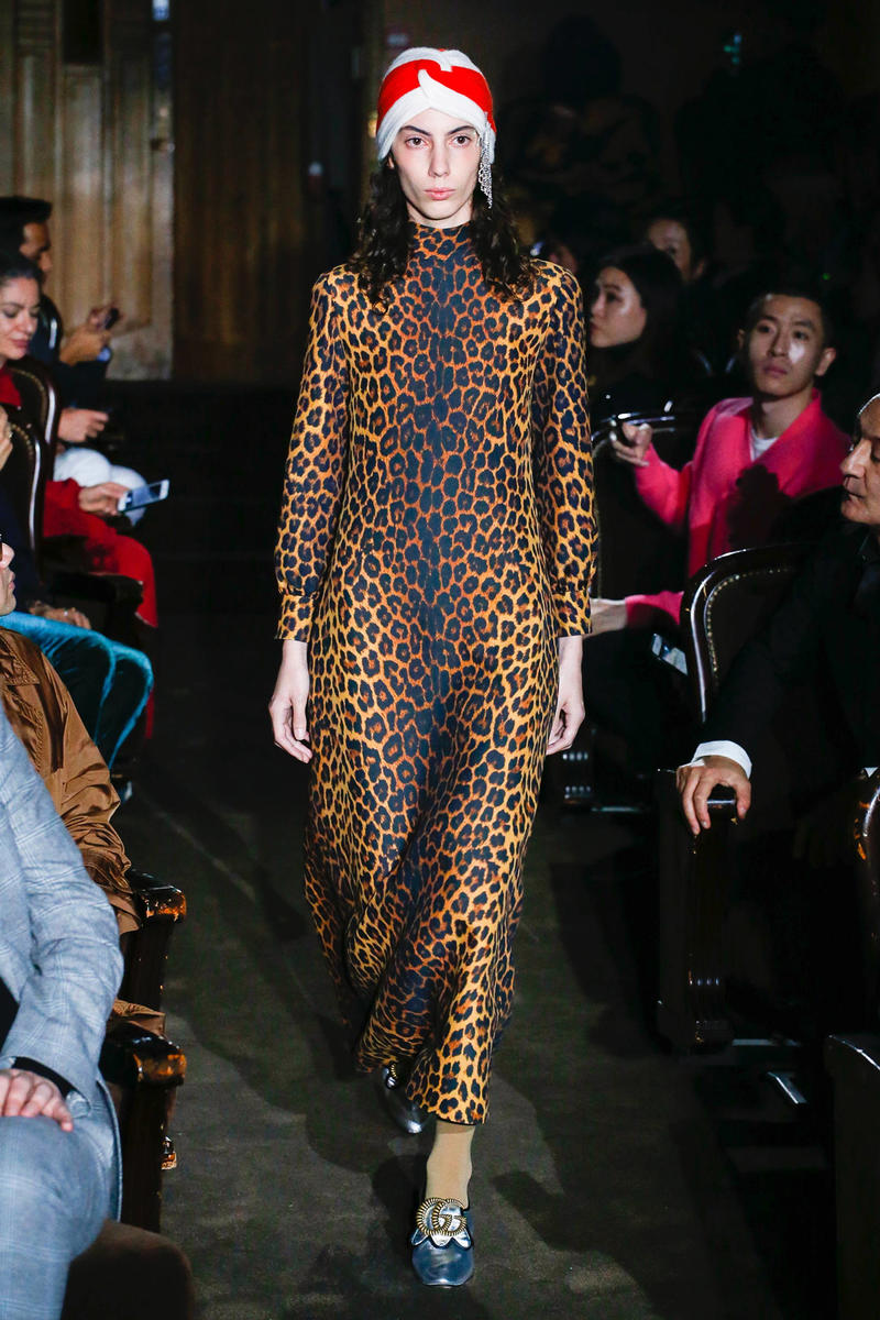 Gucci Alessandro Michelle Spring Summer 2019 Paris Fashion Week Show Collection Leopard Dress Brown Black Knit Turban Hat White Red