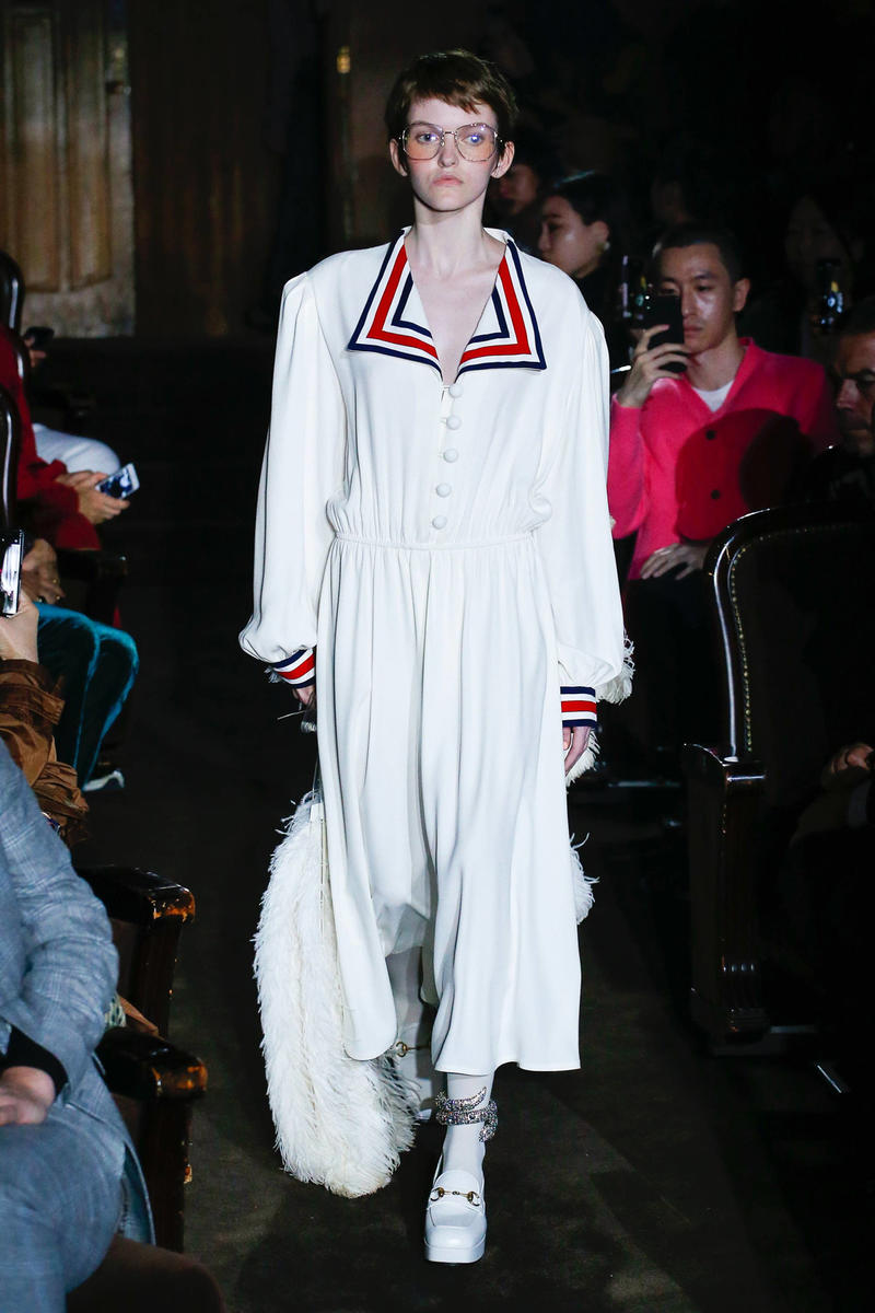 Gucci Alessandro Michelle Spring Summer 2019 Paris Fashion Week Show Collection Dress Red White