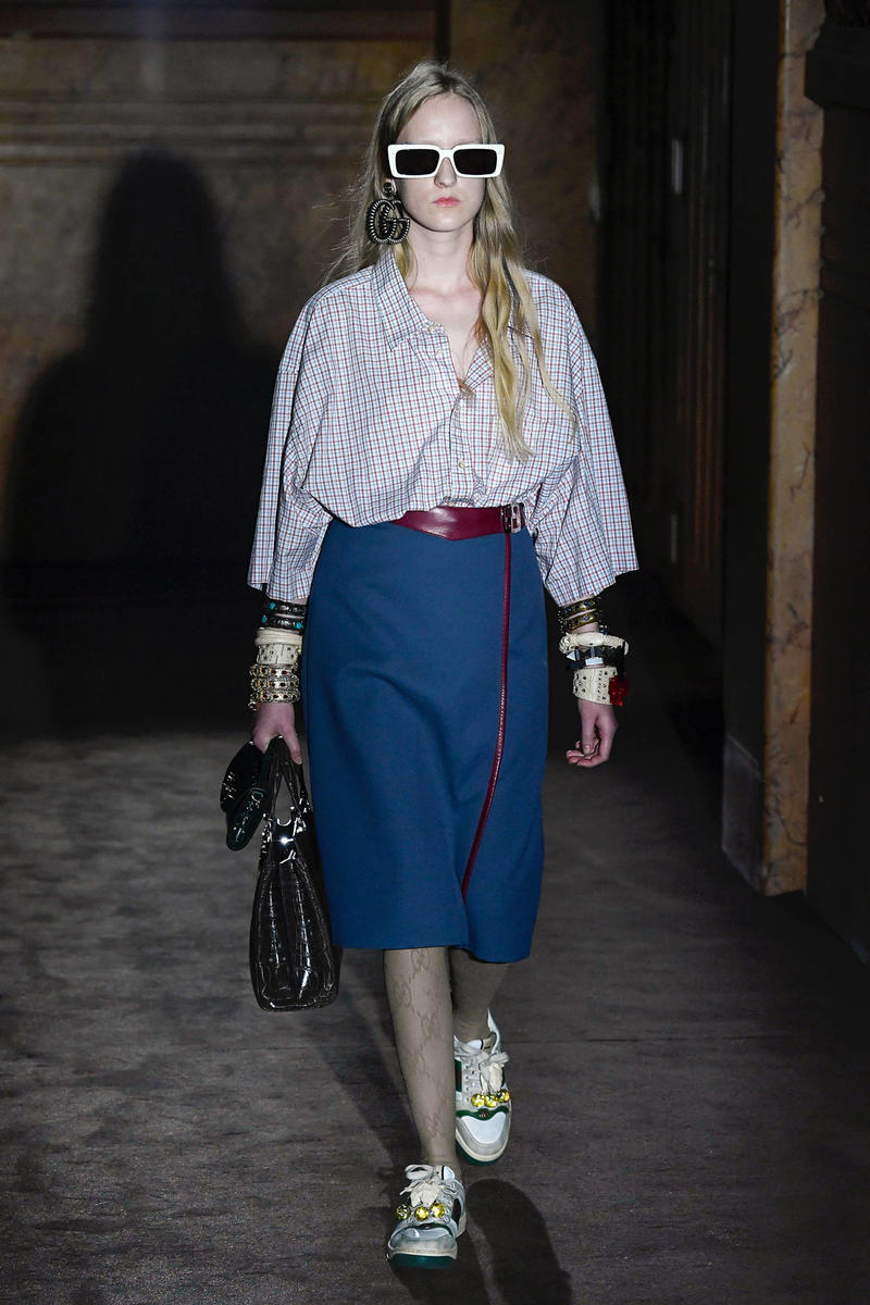 Gucci Alessandro Michelle Spring Summer 2019 Paris Fashion Week Show Collection Top White Skirt Navy