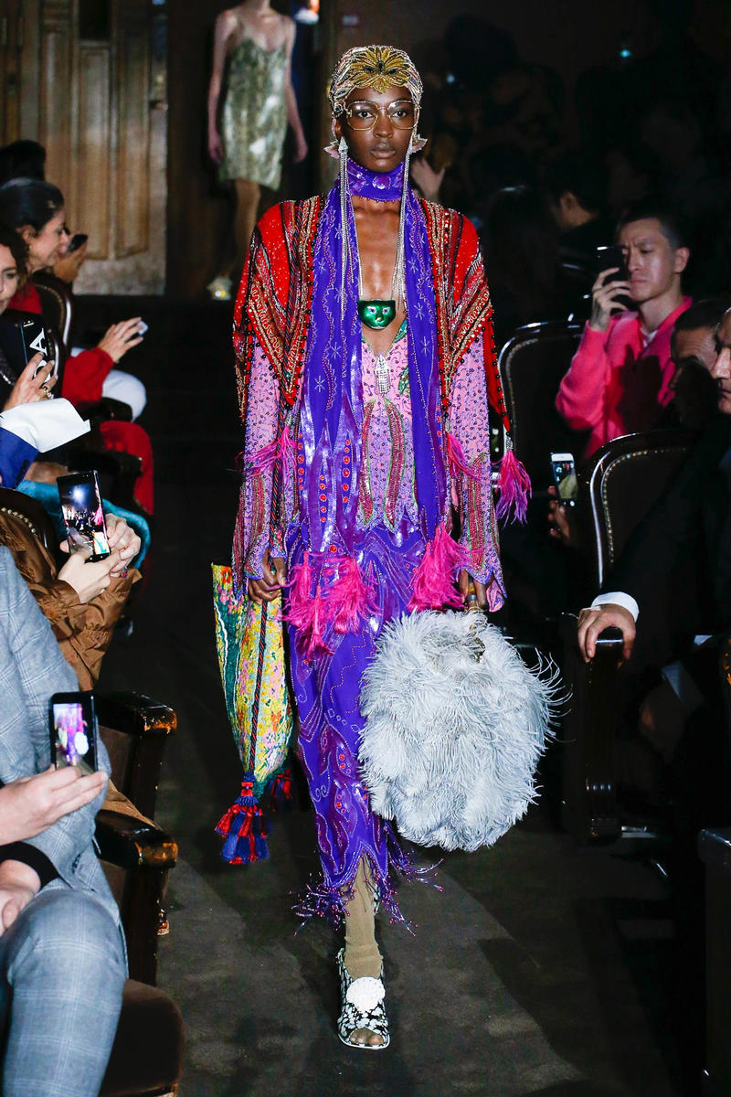 Gucci Alessandro Michelle Spring Summer 2019 Paris Fashion Week Show Collection Dress Purple Pink Red