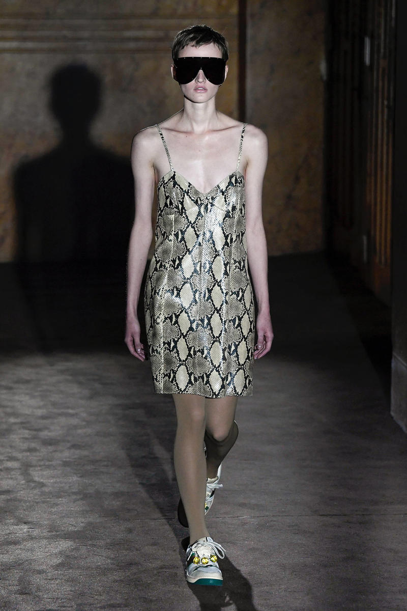 Gucci Alessandro Michelle Spring Summer 2019 Paris Fashion Week Show Collection Snakeskin Slip Dress Cream Black