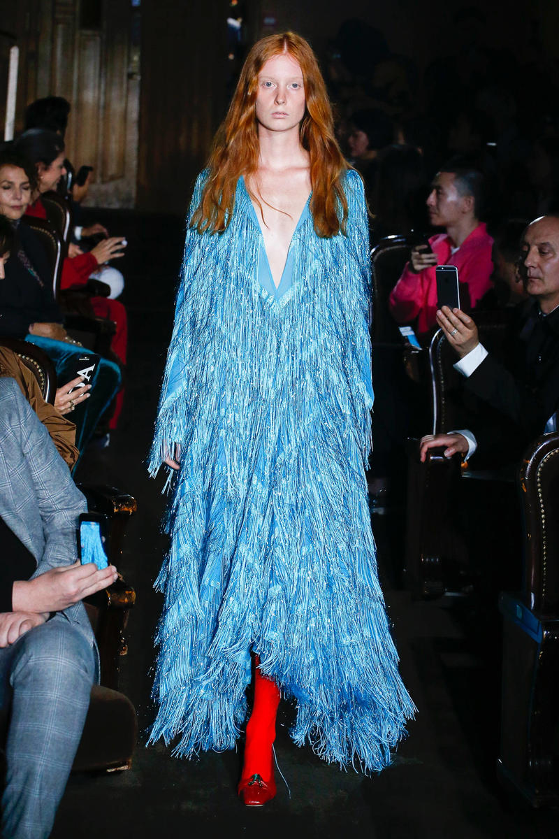 Gucci Alessandro Michelle Spring Summer 2019 Paris Fashion Week Show Collection Tassel Dress Blue