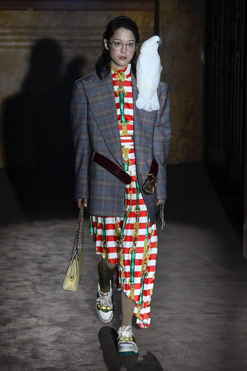 Gucci Alessandro Michelle Spring Summer 2019 Paris Fashion Week Show Collection Plaid Blazer Blue Dress White Red