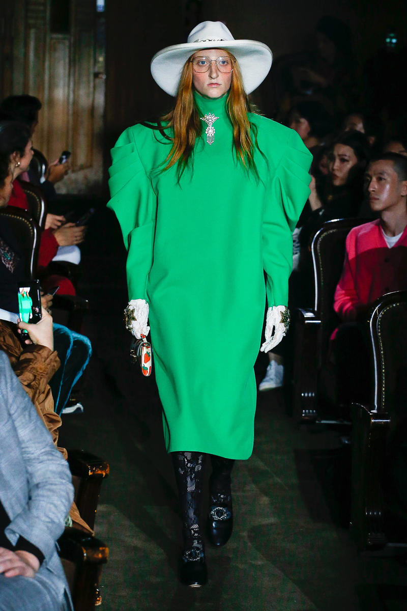 Gucci Alessandro Michelle Spring Summer 2019 Paris Fashion Week Show Collection Dress Green Hat White